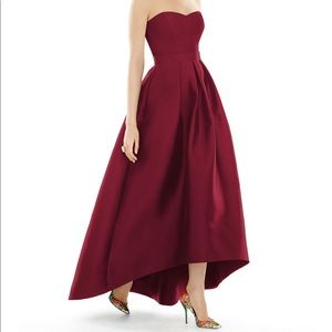 Alfred Sung Strapless High-Low Sateen Gown